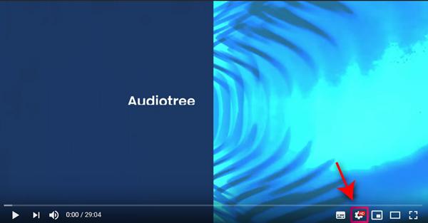 PCでYouTube再生画面を開いたら「歯車マーク」をクリック